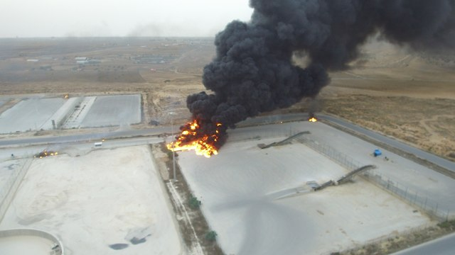 Gas pipelines were torched during the protests (Photo: IDF Spokesperson's Unit)