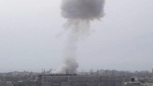 Smoke rising from the blast
