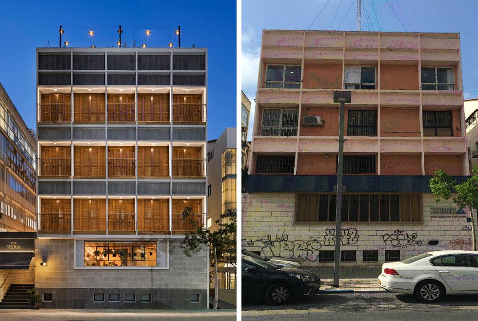מימין: לפני השיפוץ שכנו כאן משרדיה של חברת בנייה. ''ראינו עשרות נכסים'', אומר היזם דני תמרי, ''והרגשנו שמשהו טוב קורה פה, בצומת הזה''. הגריד הריבועי של החזית נשמר, שופץ ונסגר בתריסי עץ ובמרפסות עמידה קטנות (צילום ימין: באדיבות דני תמרי, צילום שמאל: אסף פינצ׳וק)
