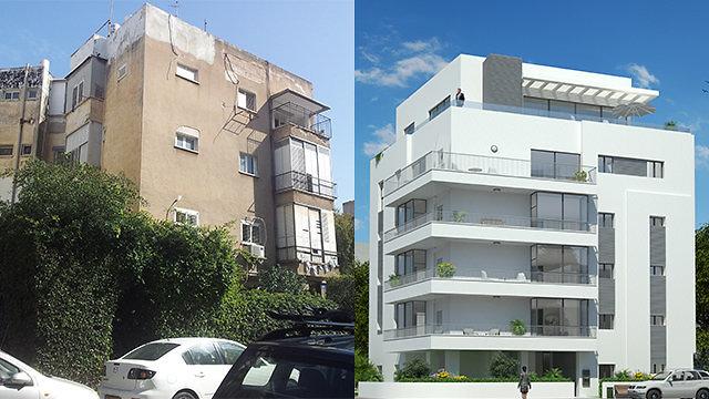לפני ואחרי - התחדשות עירונית (באדיבות החברה לחיזוק מבנים )