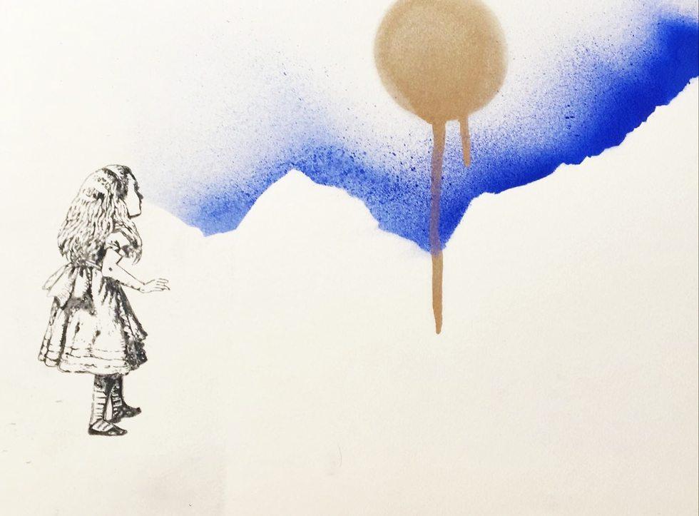 מתוך התערוכה (יפעת בצלאל מנחה, רישום וגרפיטי על נייר, 2016)