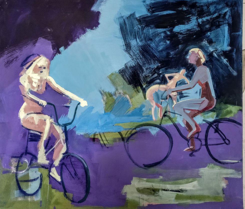 מתוך התערוכה (יונתן גולד, פיגמנט על בד, 2017)