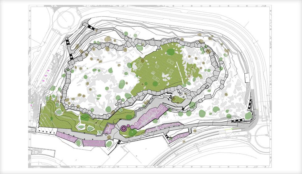 תוכנית הגן, שמנסה לאחות את הנתק בין השטח הפתוח לשכונה שנחצבה בהר. התכנון נמשך 8 שנים, והעלות כ-12 מיליון שקלים (תוכנית: רם איזנברג עיצוב סביבה)