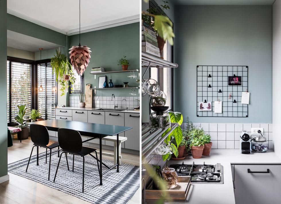 וגם בדירות מודרניות יותר. צמחי תבלין על השיש במטבח, עציצים תלויים או מונחים על הרצפה במרפסת הסגורה. דירה בעיצוב ורד בונפיליולי (צילום: איתי בנית)