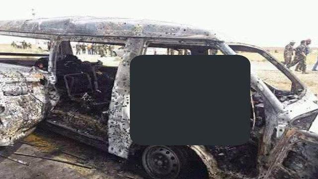 Взорванный минибус 150-го батальона