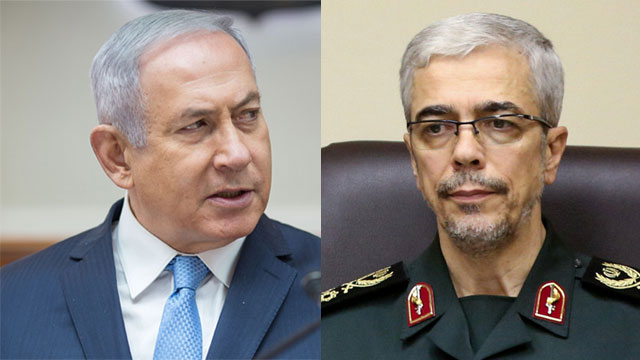 Prime Minister Netanyahu; Iran's Armed Forces Chief of Staff Major General Mohammad Bagheri  (Photos: Emil Salman, Reuters)