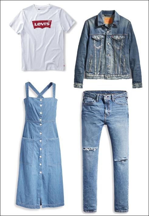 ז'קט ג'ינס, 449 שקל; טי שירט עם לוגו, 119 שקל; מכנסי ג'ינס, 449 שקל; שמלת ג'ינס, 1,690 שקל