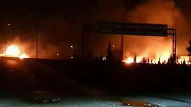 Fire burning in the Syrian base attack Tuesday