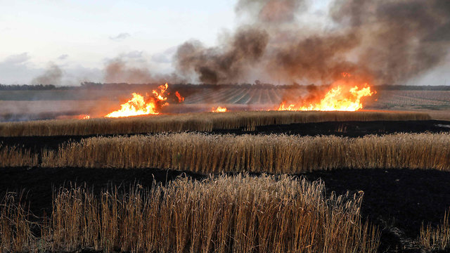 A wheat field burns in Kibbutz Nahal Oz (Photo: AFP)