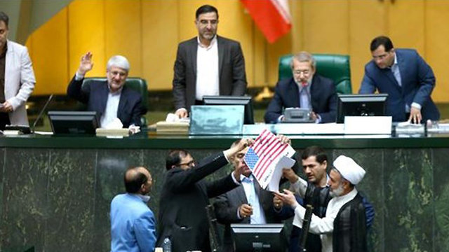 Iranian lawmakers protesting US pullout from nuclear deal