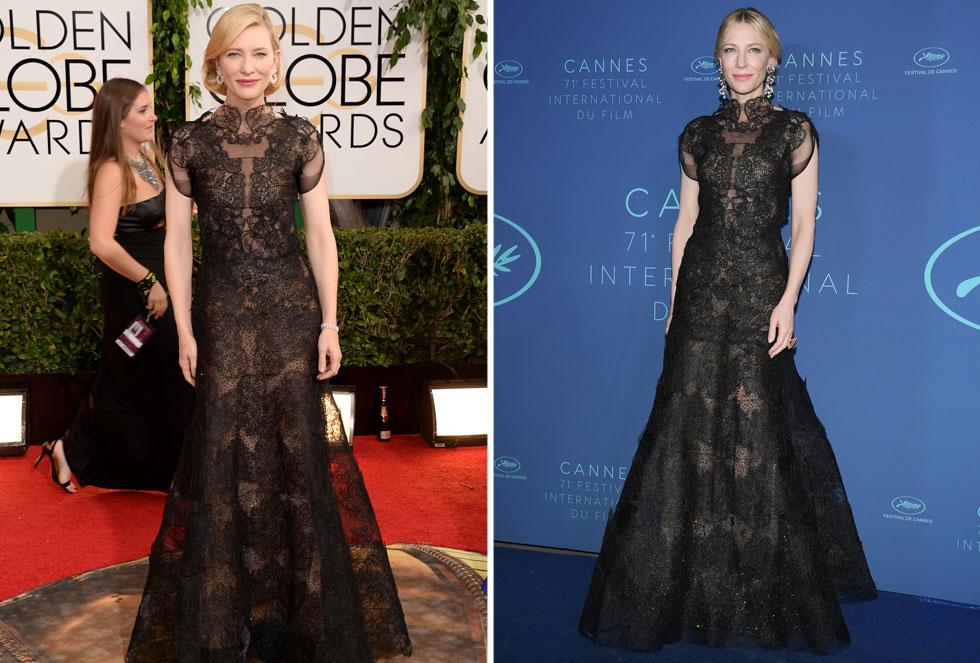 """קייט בלאנשט מיחזרה במודע שמלת תחרה של ארמאני פריווה שלבשה בטקס גלובוס הזהב 2014 (בתמונה משמאל). """"משמלות הוט קוטור לחולצות טי, המזבלות מלאות בבגדים שנזרקו סתם"""", הסבירה השחקנית, יו""""ר חבר השופטים בפסטיבל. """"באקלים של היום יהיה זה מגוחך שהבגדים האלה לא יילבשו שוב"""" (צילום: Pascal Le Segretain, Jason Merritt/GettyimagesIL)"""