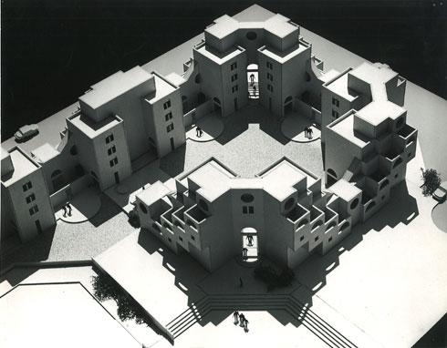 המודל של המתחם ברחוב לשם (צילום: באדיבות ארכיון אדריכלות ישראל)