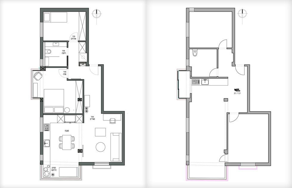 שטח הדירה 78 מטרים רבועים. מימין התוכנית לפני השיפוץ, משמאל אחרי.  כל הקירות נהרסו והדירה חולקה מחדש (תוכנית: ורד בונפיליולי)