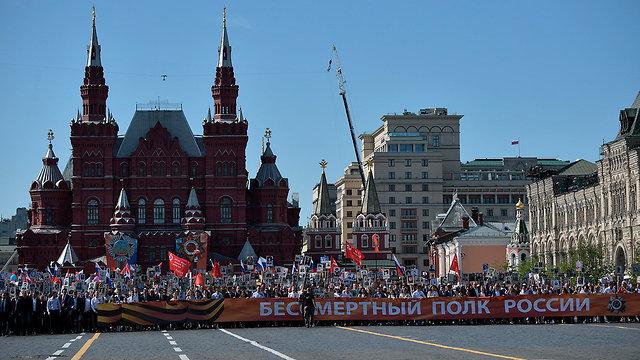 מצעד צבאי ציון 73 שנה לניצחון על גרמניה הנאצית במלחמת העולם השנייה ב מוסקבה רוסיה (צילום: AP)