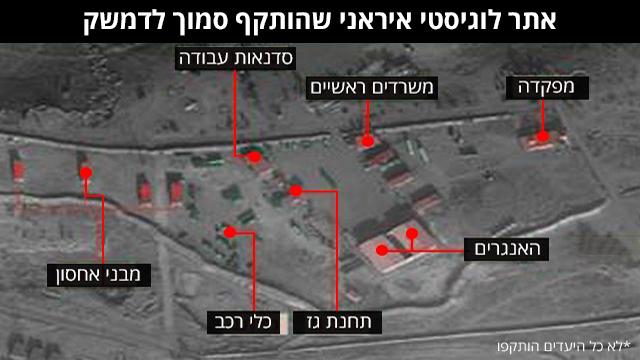אתר לוגידסטי איראני שהותקף סמוך לדמשק  ()