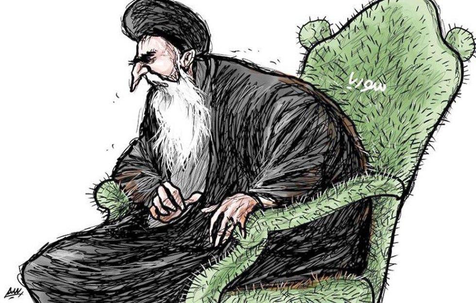 הנהגת איראן כיסא קקטוס קוץ בתחת סוריה קריקטורה א שרק אל אווסט ()
