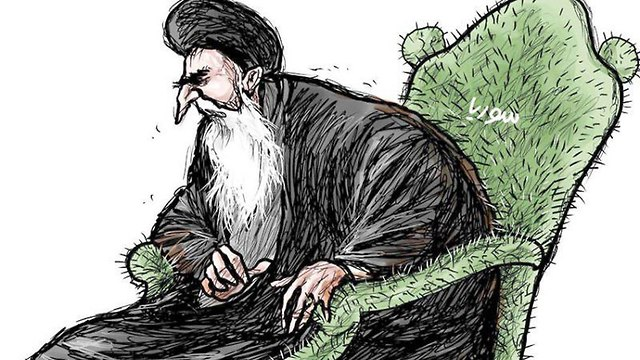 Asharq Al-Awsat caricature depicting Iranian leadership sitting on a chair of thorns that says 'Syria'