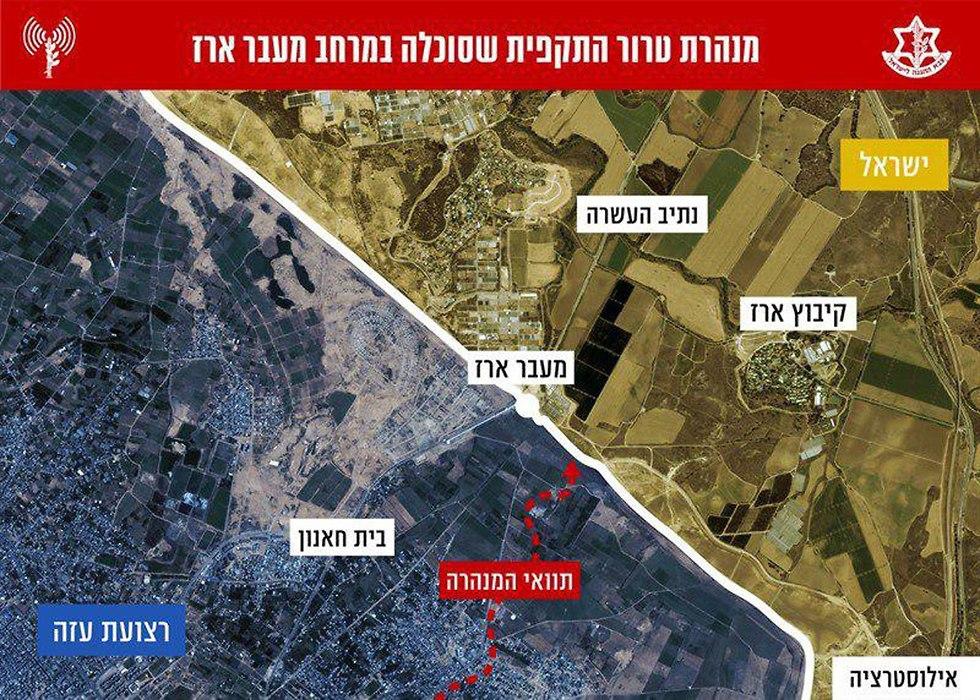 תצלום אוויר מנהרת טרור התקפית מנהרה חמאס ב מעבר ארז עזה (צילום: דובר צה