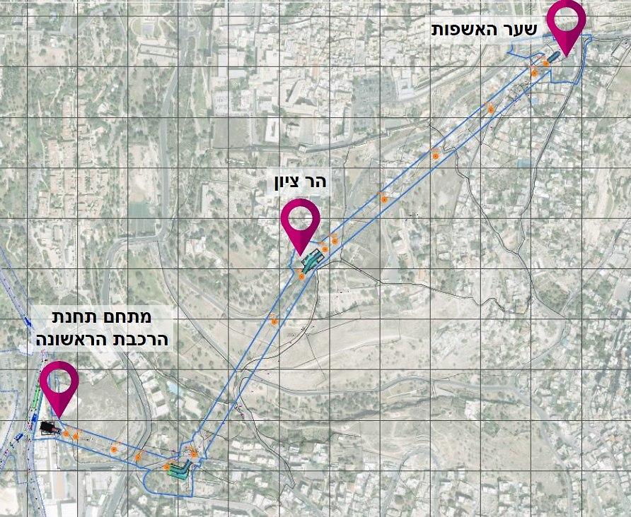 מסלול הרכבל הכולל 3 תחנות עצירה (הדמיה)