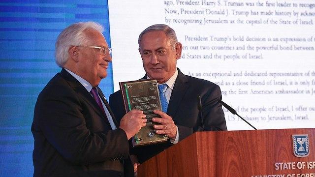 Friedman (L) and PM Netanyahu in US Embassy inauguration ceremony in Jerusalem  (Photo: Ohad Zwigenberg)