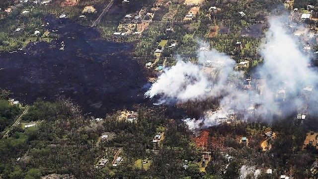הוואי התפרצות הר געש לבה (צילום: AFP)