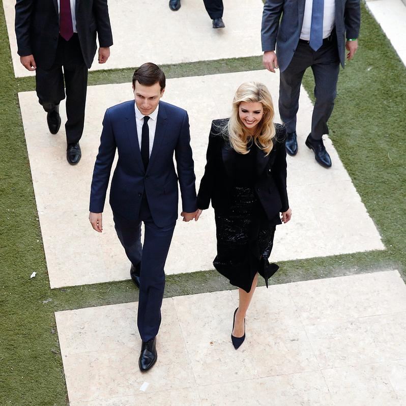 איוונקה טראמפ וג'ארד קושנר, אתמול בירושלים   צילום: EPA