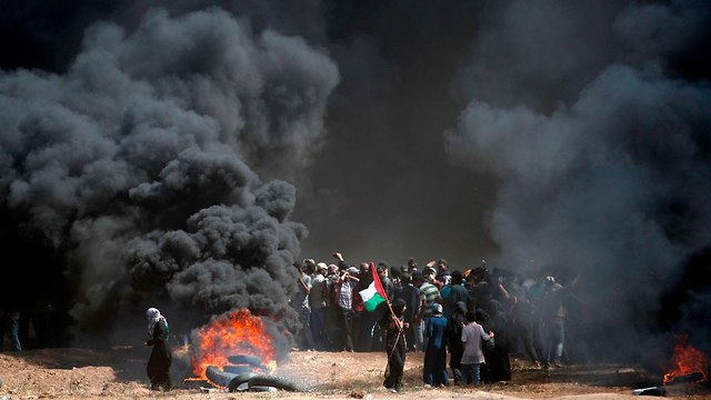 Protestors in the Gaza Strip, last month  (Photo: AFP)