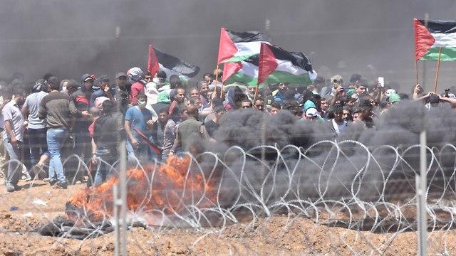 אלימות בסמוך לגדר (צילום: דובר צה