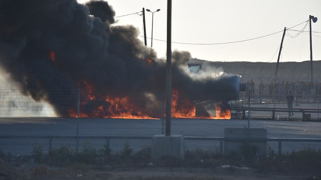 A fire in the Kerem Shalom border crossing Monday (Photo: IDF Spokesperson's Unit)