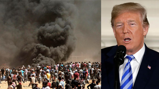 President Donald Trump and the Gaza riots. The US has chosen to be part of the problem, not the solution, Erdoğan said (Photo: AP, AFP)