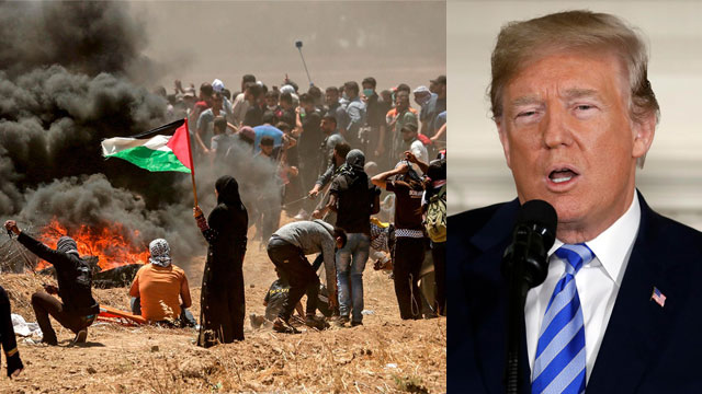 President Trump and the Gaza clashes. Many Palestinians 'journey to peace' has already ended—in a morgue (Photo: AP, AFP)