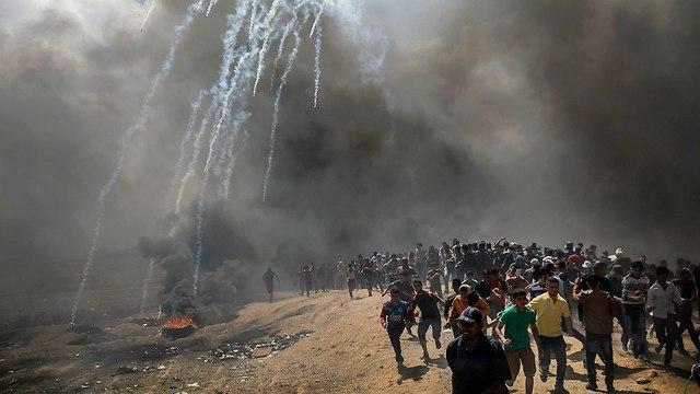 התפרעויות פלסטינים גבול רצועת עזה (צילום: MCT)