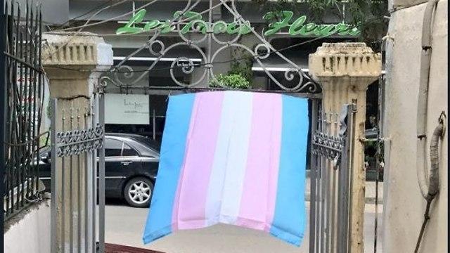 דגל הקהילה הטרנסג'נדרית בביירות (צילום: טוויטר)