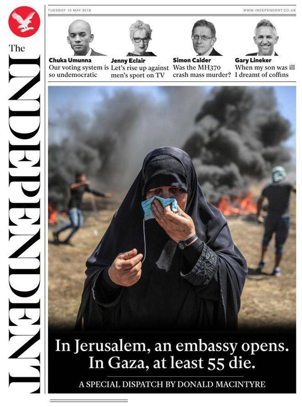 The Independent links the US embassy opening to the events in Gaza