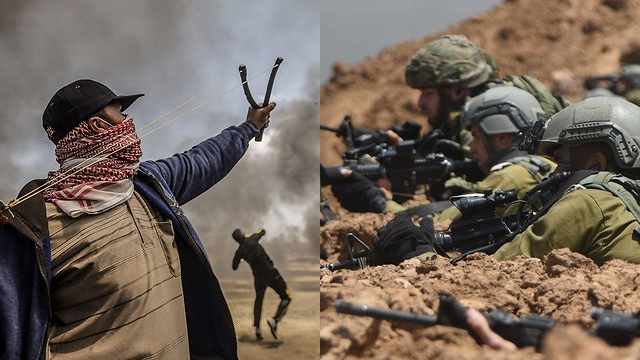 Gaza border rioters and IDF snipers (Photo: AFP, IDF Spokesperson's Unit)