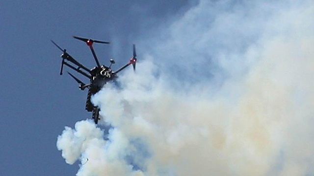 An IDF drone dispersing tear gas (Photo: MCT)