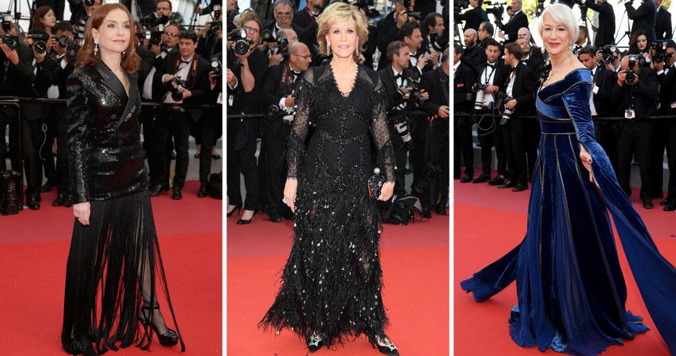 השחקניות הוותיקות שהגיעו לקאן בחרו בבתי אופנה צרפתיים, בהתאמה למדינה המארחת. ג'יין פונדה היממה אותנו בשמלת ערב שחורה של ז'יבנשי, איזבל הופר חיברה בין טוקסידו לשמלה באאוטפיט של סן לורן והלן מירן בחרה במראה כחול ומלכותי של אלי סאאב (צילום: Pascal Le Segretain, Andreas Rentz/GettyimagesIL)