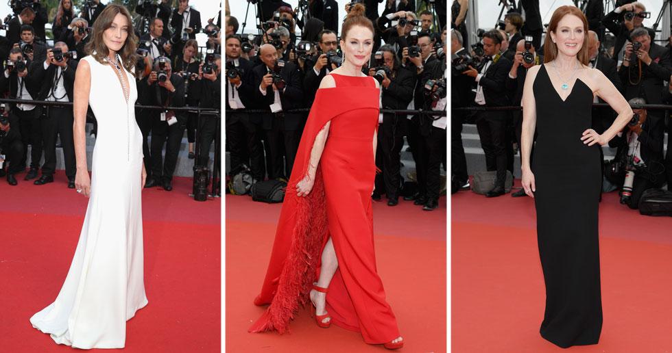 שמלות ערב חושפניות וטריקים על השטיח האדום הם עניינים לכוכבניות שמנסות להתפרסם. כשאת יודעת מה את שווה, מספיקה הופעה מינימליסטית, כפי שלמדנו מקרלה ברוני בשמלה לבנה של דיור ומשתי הופעותיה הנהדרות של ג'וליאן מור: בשמלה אדומה של ז'יבנשי ובשמלת סטרפלס של סן לורן (צילום: Pascal Le Segretain, Andreas Rentz/GettyimagesIL)