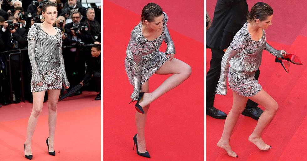 בדומה להצהרה של ג'וליה רוברטס לפני שנתיים, השחקנית קריסטן סטיוארט בחרה להסיר את נעלי הלובוטן השחורות שלה על מדרגות פסטיבל קאן ולהישאר יחפה. סטיוארט לא הסבירה את מעשיה, אך ככל הנראה הדבר נעשה במחאה על קוד הלבוש הדורש מנשים לנעול עקבים בפסטיבל (צילום: Vittorio Zunino Celotto, Andreas Rentz/GettyimagesIL)