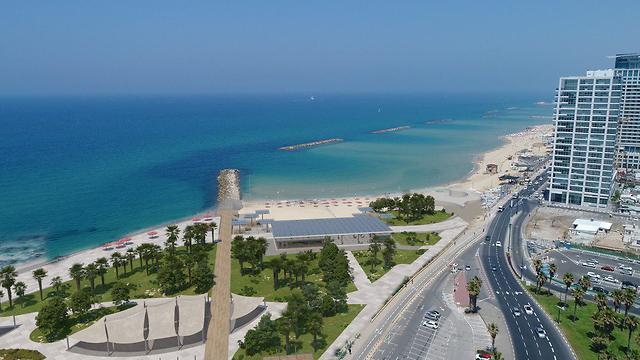 הפארק החופי שיוקם במקום הדולפינריום (הדמיה: עיריית תל אביב)