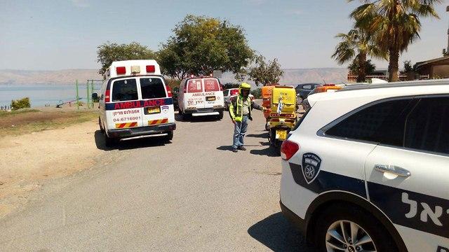 זירת רצח התאבדות דקירה טבריה (צילום: תיעוד מבצעי מד