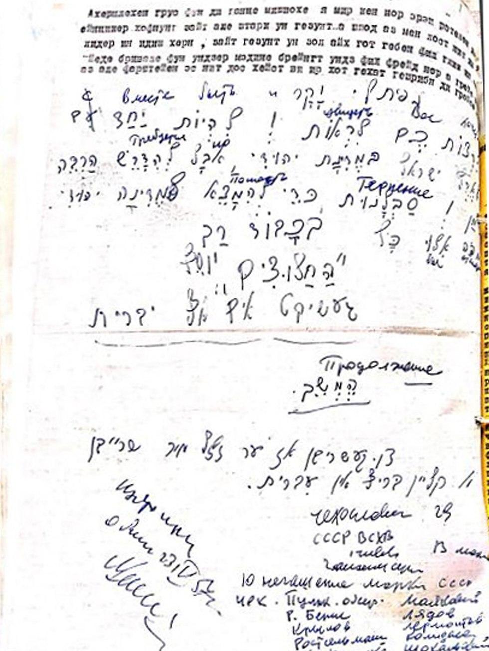 מכתב לנפתלי גריבוב מיוסף שניידר (צילום: יוסף שניידר, באדיבות ארכיון הספריה הלאומית)
