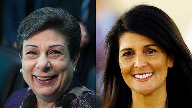 PLO official Hanan Ashrawi (L) said US Envoy to UN Nikki Haley was not 'world's schoolmarm' (Photo: Ohad Zwigenberg, Reuters)