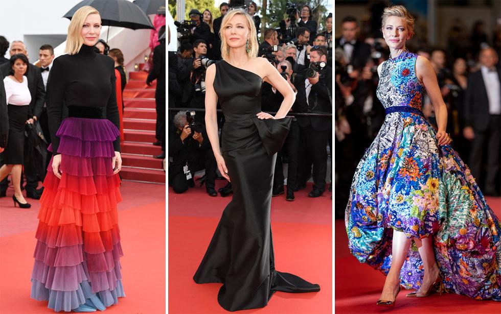 לאחר שבערב הפתיחה מיחזרה בלאנשט שמלה של ג'ורג'יו ארמאני מארונה, בהמשך הפסטיבל היא בחרה בשמלות חדשות: שמלת נוצות צבעונית של ז'יבנשי, שמלת סאטן א-סימטרית של ארמאני פריווה, ושמלה צבעונית של מרי קטרנזו (צילום: Andreas Rentz,Pascal Le Segretain/GettyimagesIL)