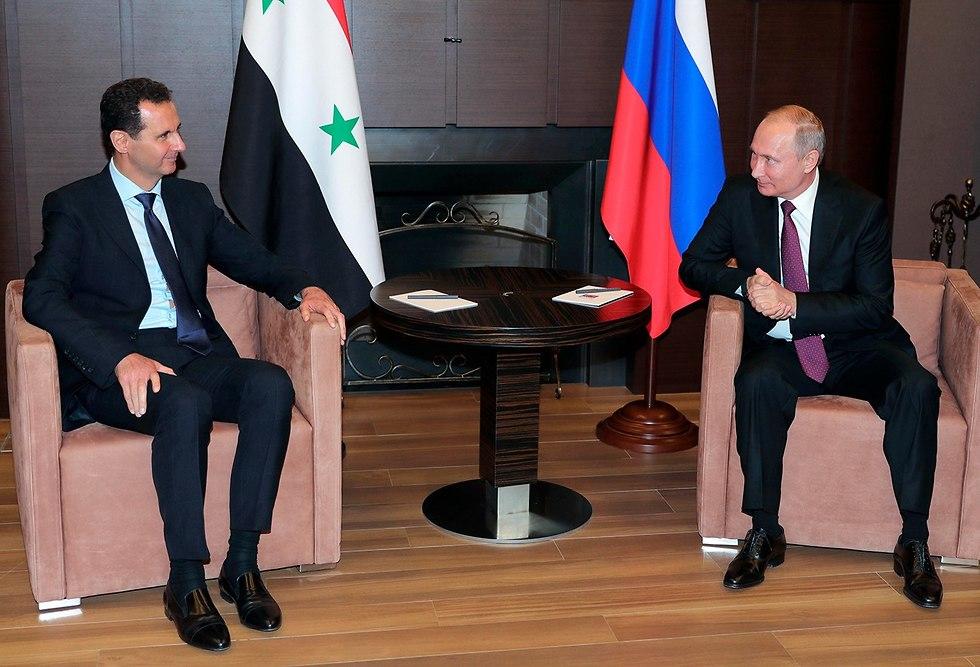 ולדימיר פוטין פגישה עם נשיא סוריה בשאר אסד ב סוצ'י רוסיה (צילום: AP)