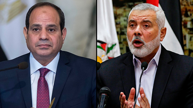 Egypt's President Sisi (L) afforded a series of Gaza humanitarian relief measures, in return for Hamas leader Haniyeh vowing to de-escalate border confrontations (Photo: AFP)