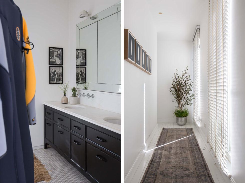 במסדרון המוביל מחדרי הילדות לחדר ההורים (בתמונה מימין) חלונות עם תריסים ונציאניים מול קיר שעליו סדרת דימויים של גלשנים, בשחור לבן. משמאל: חדר הרחצה של ההורים, ובו שני צילומי אופנה וארון שחור דווקא (צילום: הילה עידו)