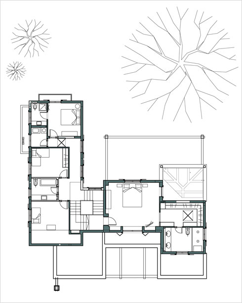 תוכנית הקומה העליונה, עם כמה מדרגות שמפרידות בין חדרי הילדות ליחידת ההורים (תכנית: שרה פרנקל, לוי חמיצר)