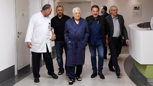 Abbas at the hospital in Ramallah in May (Photo: Reuters)
