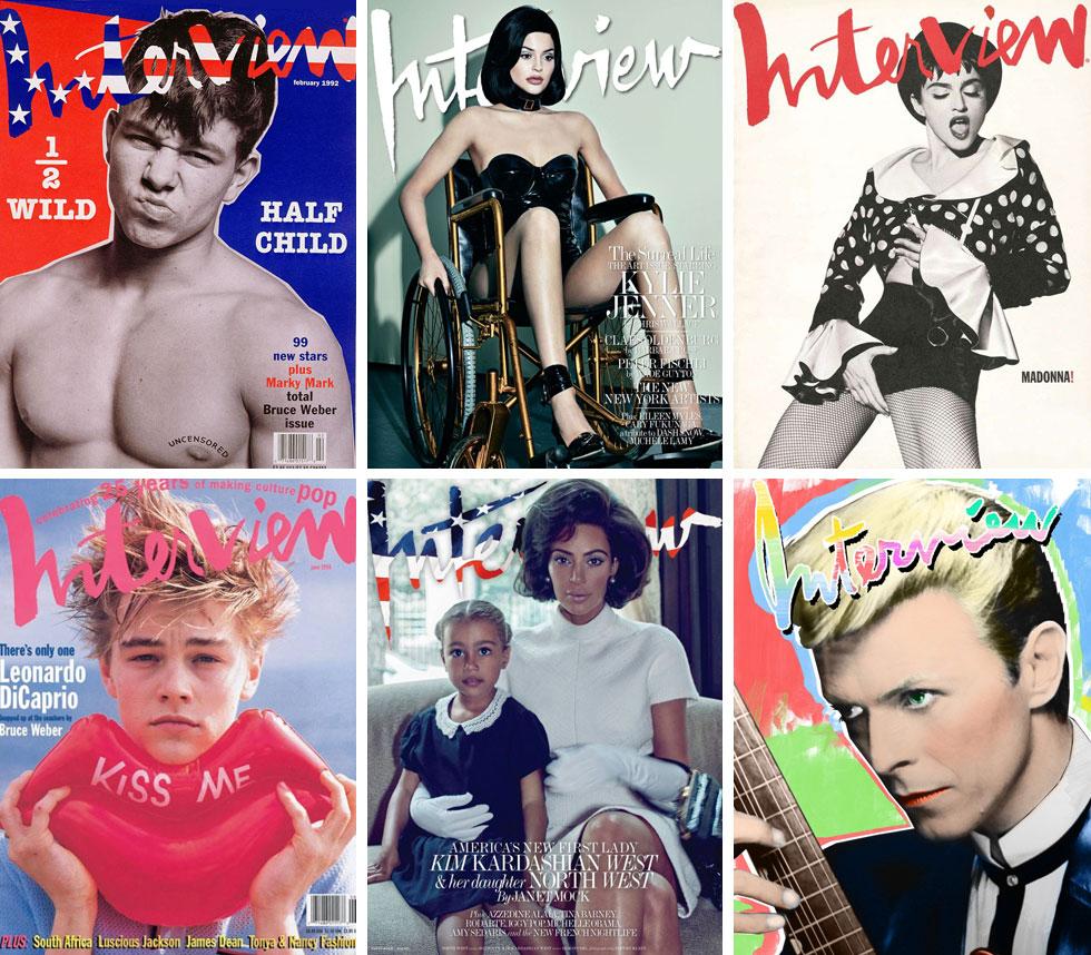שורה ארוכה, אינסופית כמעט, של יוצרים וכוכבים זכו לככב על שערי מגזין Interview האמריקאי